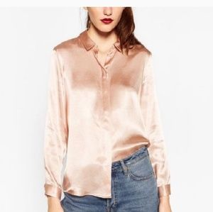 ZARA silky rose gold blouse